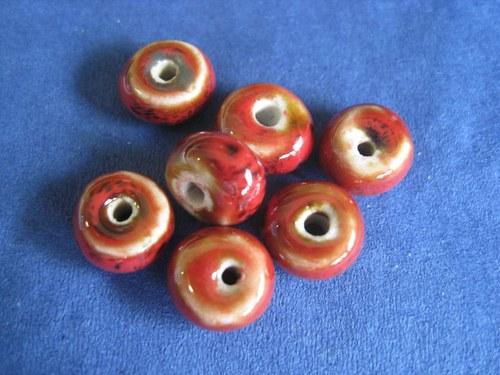 Keramické rondelky červené-9 x 4mm, 2 ks / 11,- Kč