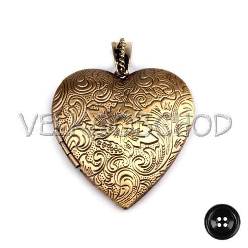 Medailonek Srdce 40x40mm otevírací - staromosaz
