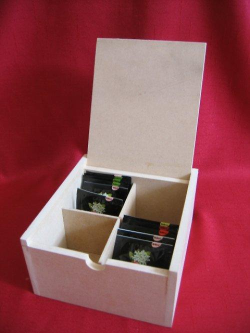 AKCE !! Krabička na čaj 4 přihrádky
