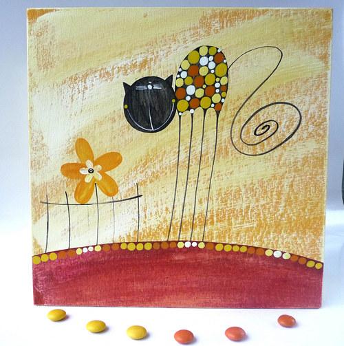 krabice na ponožky - žlutá s kočkou