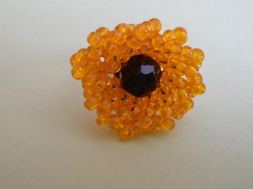 Oranžová kytička prsten