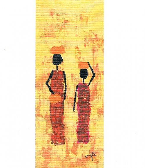 Reprodukce- tisk - Etno žena s mísou 10x25cm-003