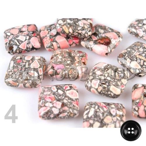 Korálky kámen čtverec 18x18mm (3ks) - růžová