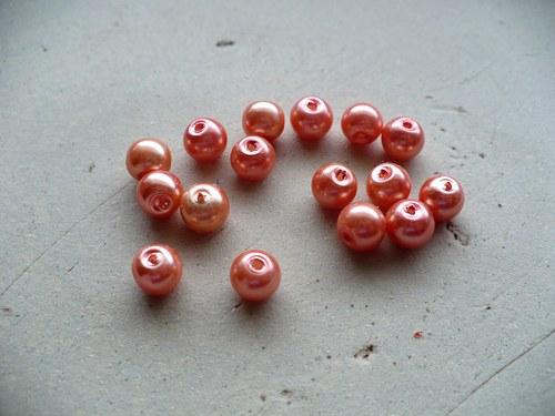 voskované perly oranžové 6mm - 30ks