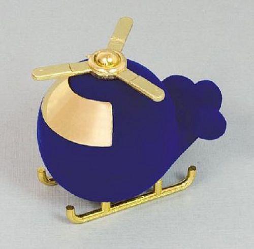 Sametová krabička na šperky - modrý vrtulník