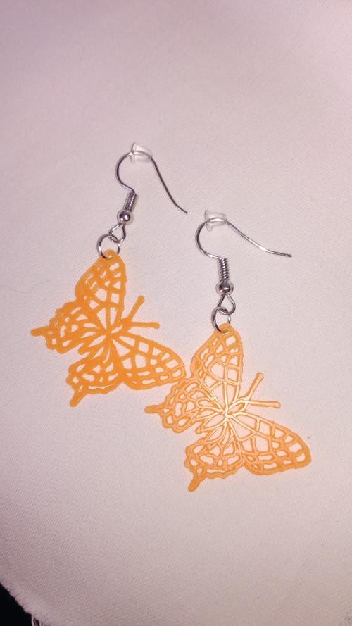 malé náušnice motýlci 3D tisk - oranžové