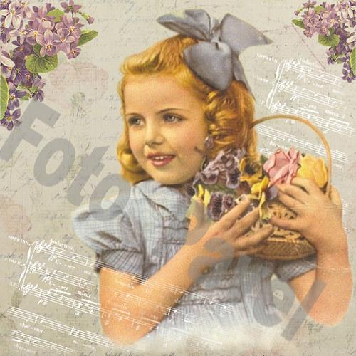 Vintage motiv - holčička s fialkami 2
