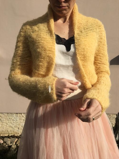 Svatební kardigán-žlutá