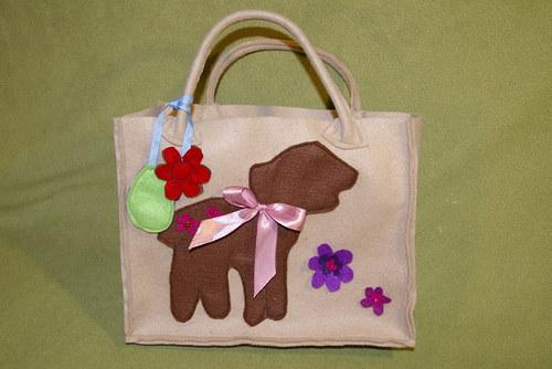 taška malá béžová s ovečkou