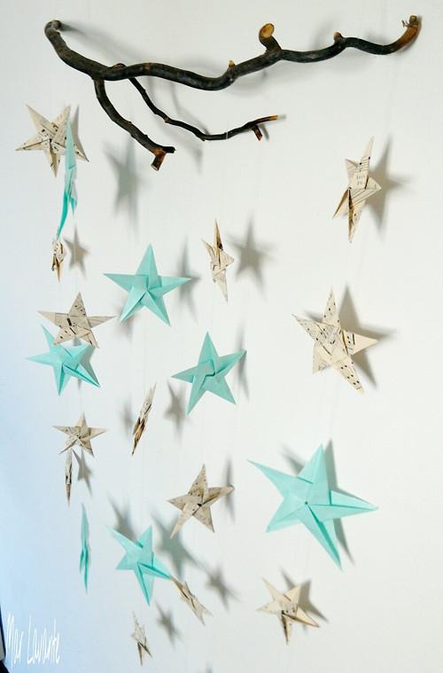 Origami hvězdy ze starých not a mátové (mint)