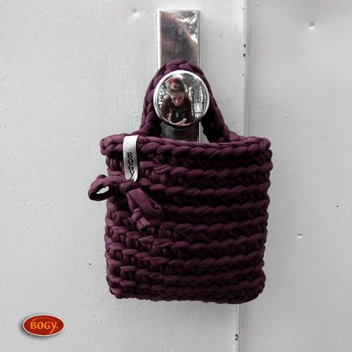 háčkovaná kapsa na mobil, fialová bordó