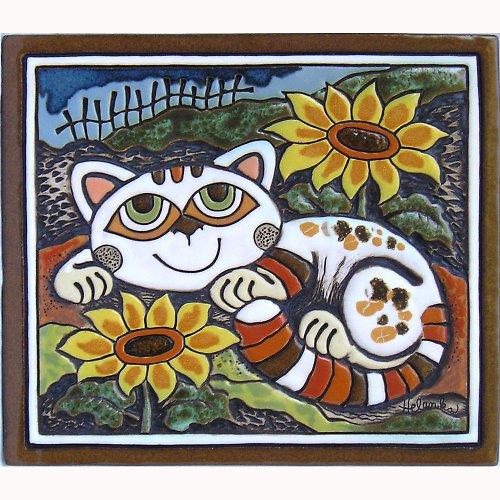 Keramický obrázek - Kočka a slunečnice K-125-N