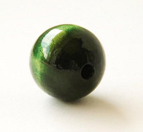 2ks dřevené korálky- tmavě zelené