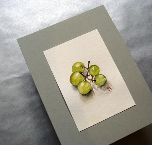 Pár kuliček vína - akvarel