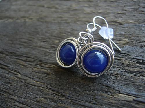 Modré náušnice / jadeit / nerez ocel