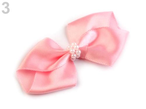 Mašle saténová 35x70 mm s perličkami (4ks)-růžová