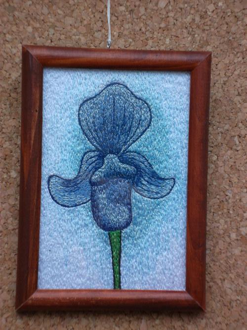 Vyšívaný obrázek - Květ Střevíčník