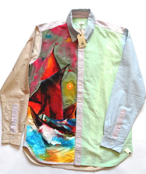 Malovaná košile/Pánské košile s dlouhým rukávem.