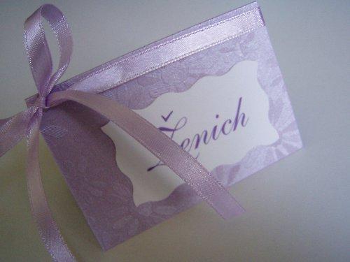 fialové jmenovky na svatební stůl,lila
