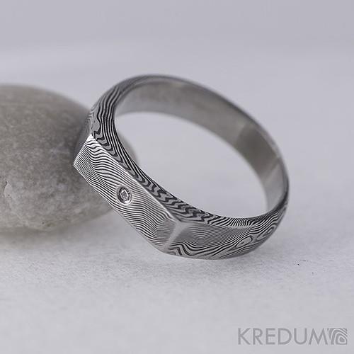 Zásnubní damasteel prsten Prolili + diamant 1,5mm
