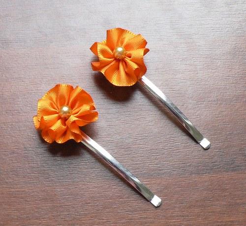 Sponky kytičkové oranžové