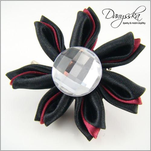 Saténová květina - brož/sponka do vlasů 200