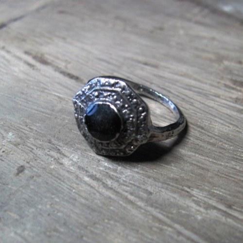 Tibetské stříbro - černý smalt