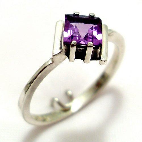 Prsten «Mini» - stříbro 925, přírodní ametyst