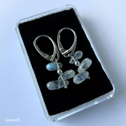 Stříbrné náušnice s adularem (měsíčním kamenem)