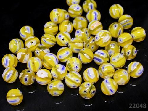 22048 Korálky Millefiori žluté kul. 10mm, bal.5ks