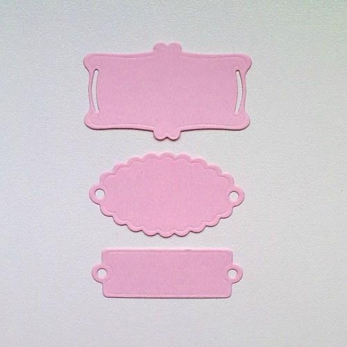 Výsek - Štítky růžové  3ks