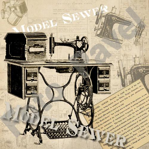 Vintage motiv - šicí stroj - Sewer