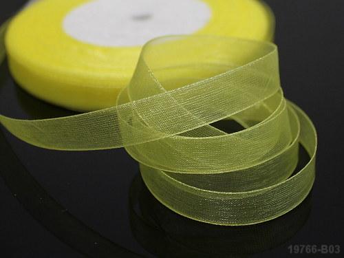 19766-B03 Stuha organza 10mm citrón ŽLUTÁ, bal. 5m
