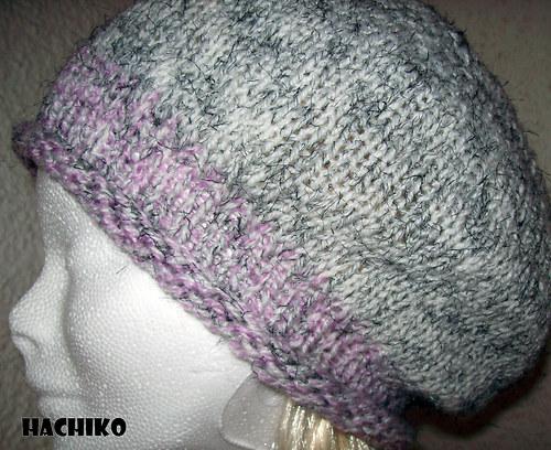 Pletená čepice - baret  v jemných tónech