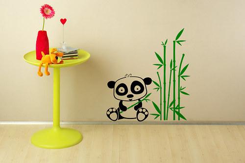 Panda a bambus (500x556) - samolepka na zeď