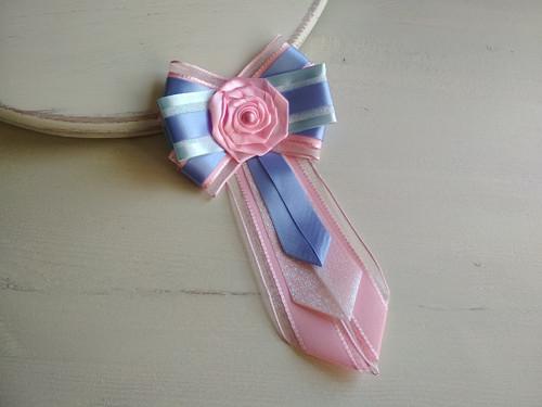Dámská kravata/brož pod límeček Modro-růžová