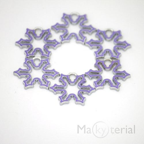 Vánoční vločka kovová - fialová- 2ks