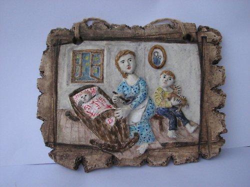 Matka - 27x22 cm,  keramický obraz s básní