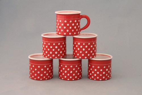 Espresso 6 kafáč puntík červená výhodná sada  6ks