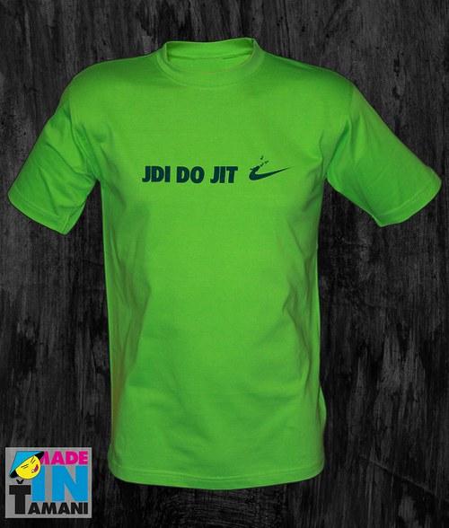 Pánské limetkově zelené tričko Jdi dojit 02