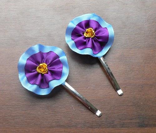 Sponky stuha - modrá, fialová