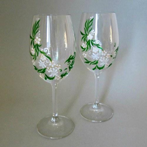 Svatební skleničky bílé květy