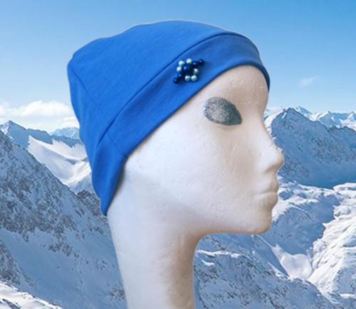 Čepice Ice s vlnou Modré perličky
