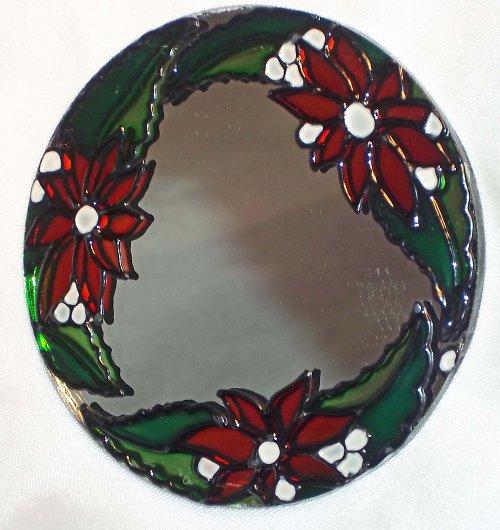 Malované kapesní zrcátko - kulaté