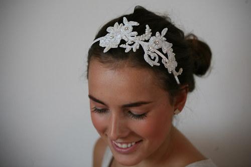 Čelenka svatební krajková - ivory,smetanová - Lola