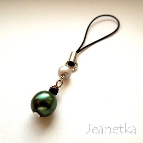 Přívěšek na mobil se zelenu perlou