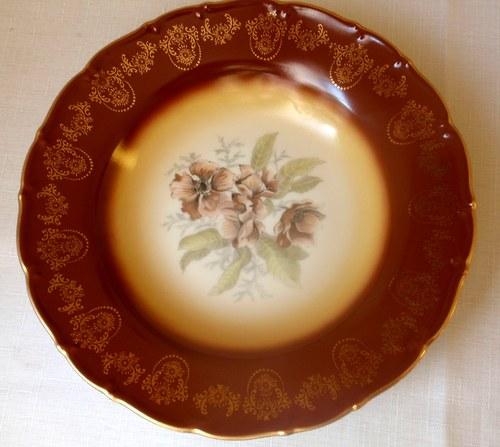 Pozlacený talíř s květy šípkové růže-SLEVA 20%