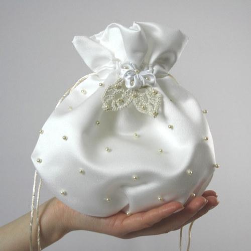 Bílá svatební pompadůrka - zlaté zdobení - VELKÁ