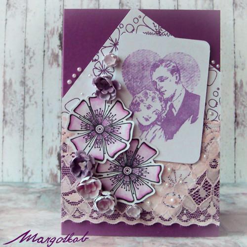Pár ve fialkové-  svatební přáníčko
