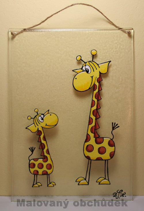 Skleněný obrázek-žirafy